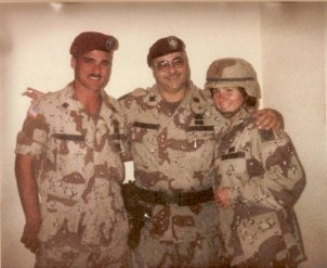 My husband, his dad, his sister, Kuwait, 1991