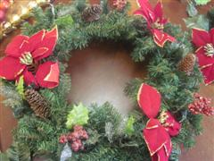 flowers and cones on wreath