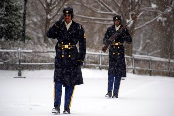 Not all of Washington, D. C. was shut down this past couple of weeks . . . These are the guards at the Tomb of the Unknown Soldier. The Old Guard keeping watch regardless of the weather conditions!