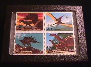 Creation: 25 cent dinosaur stamps including Brontosaurus