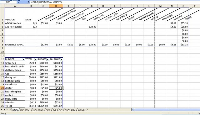 Budgeting Spreadsheet – Budgeting Worksheet