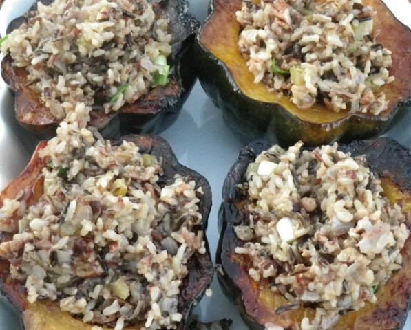 Winter Squash Stuffed with Wild Rice, Toasted Pecans & Dried Cherries ...