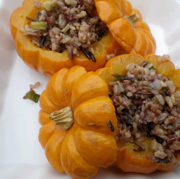 Winter Squash Stuffed with Wild Rice, Toasted Pecans & Dried Cherries