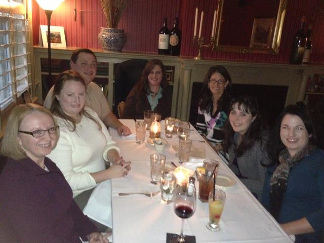 Authors Dinner at Merrick Inn with Liliana Hart, Cherie Marks, Katherine Lowry Logan, Hallee Bridgeman, Kathleen Brooks & husband Chris Counts, and Donna Jane McDonald. Liliana is in town to present a workshop on self-publishing at the Kentucky Romance Writers Spring into Writing annual conference this Saturday at The Hyatt Place.
