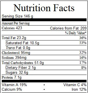 pumpkin cake nutrition