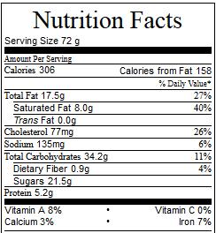 skillet cake nutrition